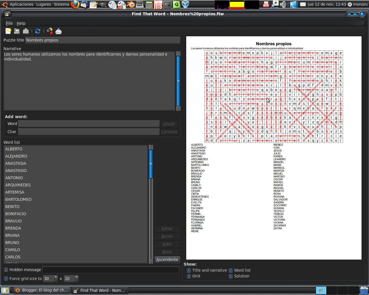 Programa para crear sopas de letras en ubuntu
